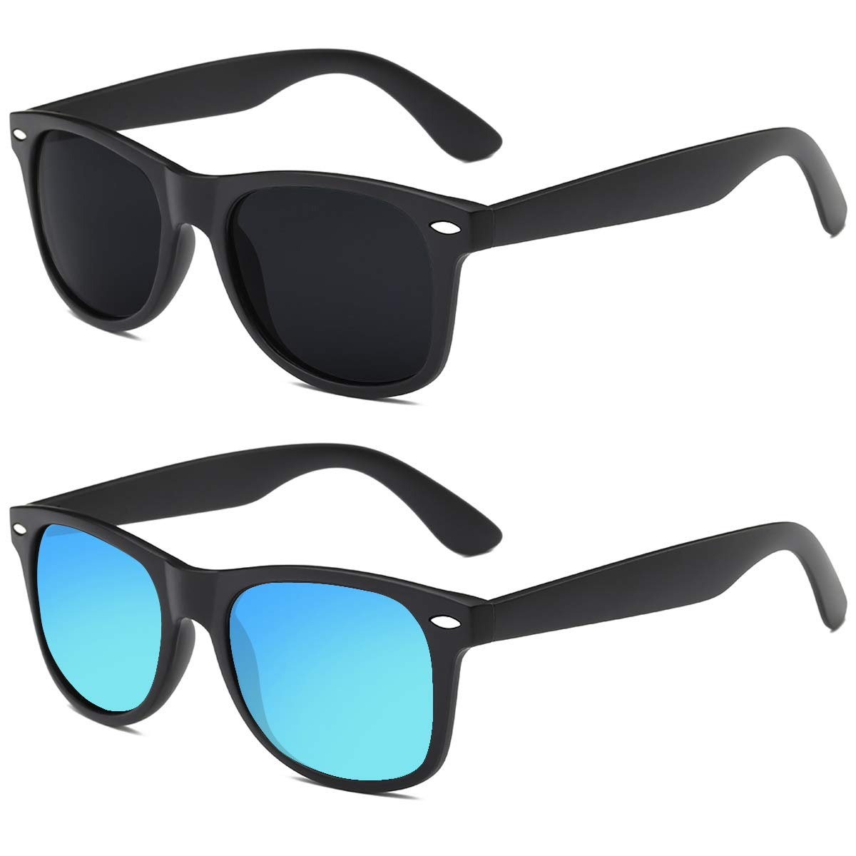 Polarized Sunglasses for Men 2Pack - FEIDU Polarized Retro Sunglasses for Men (black-blue) by FEIDU