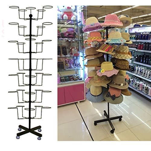 Fanala Rotating Hat Display Rack Free Standing Cap Hat Rack Tower for Retail Merchandising Home Office US Stock by Fanala