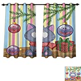 Best Avon Cat Trees - Christmas Blackout Thermal Curtain Panel Kitten with Scarf Review