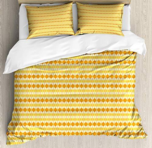 Z&L Home Argyle Duvet Cover Bedding Sets Luxury Soft Flat Sheet Set with Pillow Shams for Kids Teen Girls Boys Men Women, Monochrome Style Retro Pattern with Stylish Rhombuses