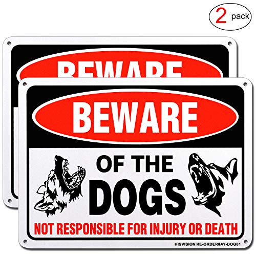 "HISVISION Beware of Dog Sign, 2 Pack 10""x 7"" Rust Free .40 Aluminum, UV Printed- Professional Graphics- Easy to Mount- Indoor Or Outdoor Use- Beware of Dog Warning Signs"