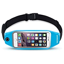 uFashion3C Universal Running Belt Pouch Case/ Waist Fanny Pack for iPhone 6, 6S, 6 Plus, 6S Plus, Galaxy S5, S6, S7,Edge, Note 3, 4, 5, LG G3, G4 G5 with OtterBox/ LifeProof Waterproof Case (Sky Blue)
