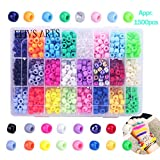 Efivs Arts Giant Crayon Bead Box,24 Color Pony Beads Big Spcaer Beads for for DIY Jewelry Making - Approximately 1500pcs(6 x 9 mm)