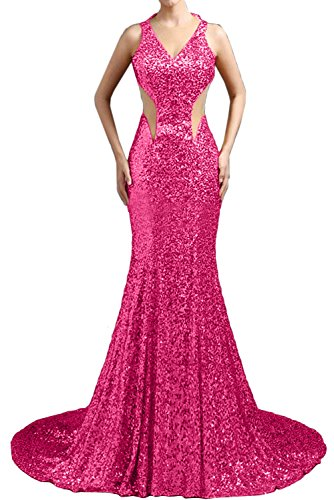 Damen Pink Meerjungfrau Neu Lang Traeger Ballkleider Promkleider Paillette Sexy Abendkleider Ivydressing qB1wxC45