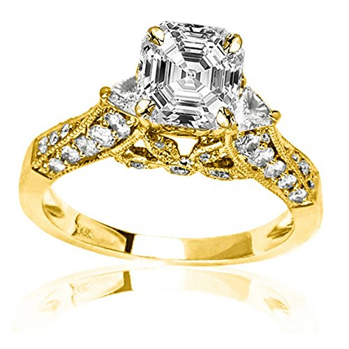 14K Yellow Gold 1.38 CTW Trillian And Round Diamond Engagment Ring w/0.5 Ct Asscher Cut H Color VS2 Clarity Center