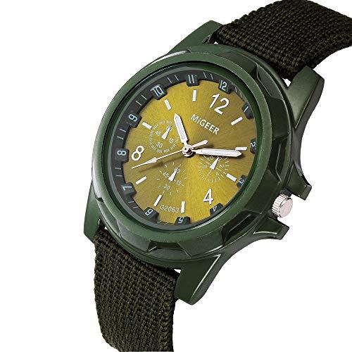 Koolsants Round Dial Nylon Strap Band Men Boy Military Army Quartz Wrist Watch Gift