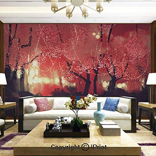 Lionpapa_mural Nature Wall Photo Decoration Removable & Reusable Wallpaper,Enchanted Mist Forest with Shady Autumn Trees at Night Magical Paint Artwork,Home Decor - 66x96 inches