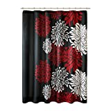 Black and Grey Shower Curtain Comfort Spaces – Enya Shower Curtain – Black,Red – Floral Printed- 72x72 inches