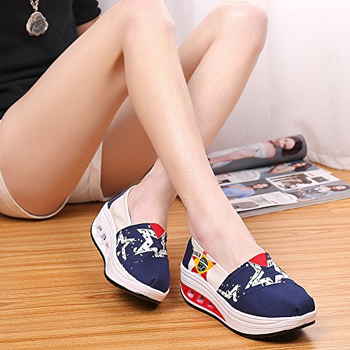Lz-wjx03shenlan37 Enllerviid Vrouwen Slip Op Platform Canvas Sneakers Multicolor Shape Up Fintess Wandelschoenen Donkerblauw 6 B (m) Us