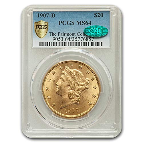 1907 D $20 Liberty Gold Double Eagle MS-64 PCGS CAC G$20 MS-64 PCGS
