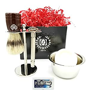 Mens Shaving kit Gift for Men Classic Wet Shaving with Safety Razor Stand and Mug for Cream 10 Dorco blades