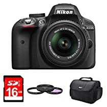 Nikon D3300 DSLR 24.2 MP HD 1080p Digital Camera with 18-55mm Lens, 52mm Deluxe Filter Kit, Deluxe Gadget Bag, and 16GB SD Memory Card
