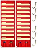 COMPONO Wall Storage Pocket Charts (2 PACK) File Organizers with FREE BONUS 6 Door Hangers- Best Pocket Chart for School, Classroom, Home or Office Use. Wall Pocket Chart Organizer (Red)