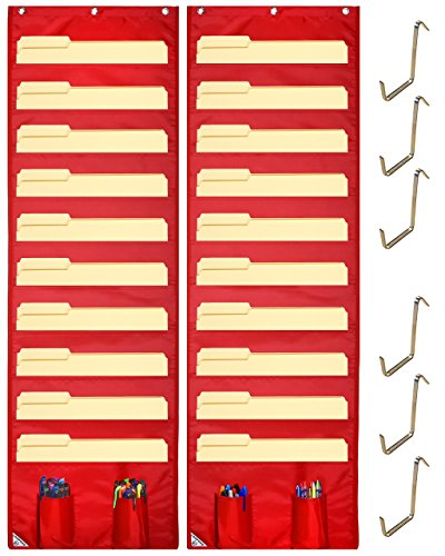 Library Wall System (COMPONO Wall Storage Pocket Charts (2 PACK) File Organizers with FREE BONUS 6 Door Hangers- Best Pocket Chart for School, Classroom, Home or Office Use. Wall Pocket Chart Organizer (Red))