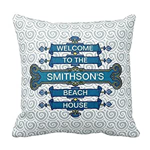 Home Style Custom Blue Beach House Sign with Scallop Swirls Pillowcases Personalized 20x20 inch Square Cotton Throw Pillow Cover Twin Sides