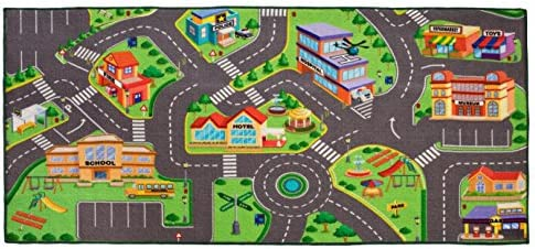 IQ Toys Kids City Traffic Play Mat Rug for Playrooms and Play Areas 36 X 72 Inches Made with Anti-Slip Bottom & Reinforced Edging