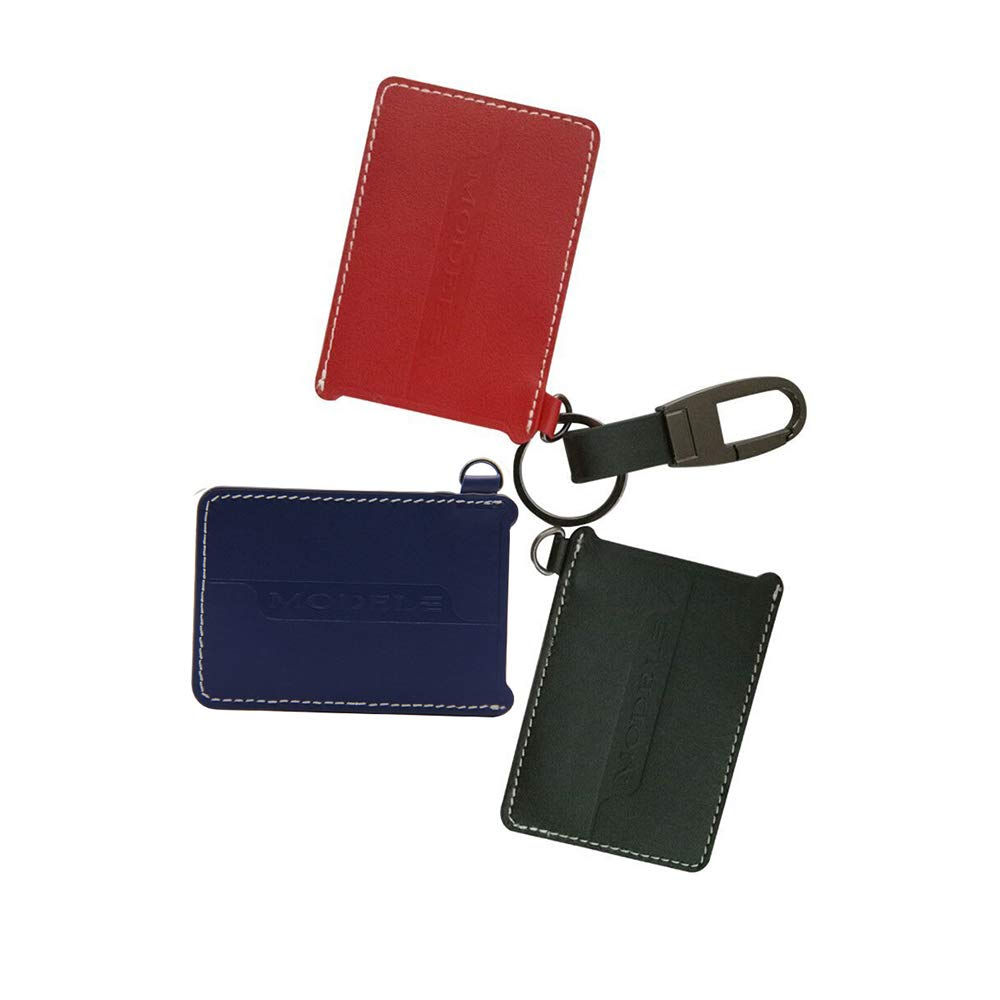 Car Leather Key Card Protector Key Bag Key Chain Card Holder Key Cover for Tesla Model 3 Red