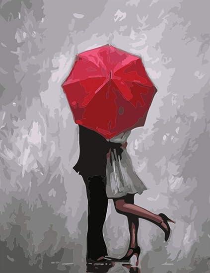 tytuoling DIY Pintura por Números Amor Bajo El Paraguas ...