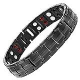 Starista Jewelry Pure Titanium Double Row 4 Elements Magnetic Health Bracelet Power Wristband for Men (Black)