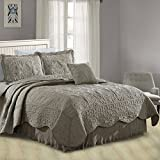 Home Soft Things Serenta Damask 4 Piece Bedspread Set, Queen, Ash Gray