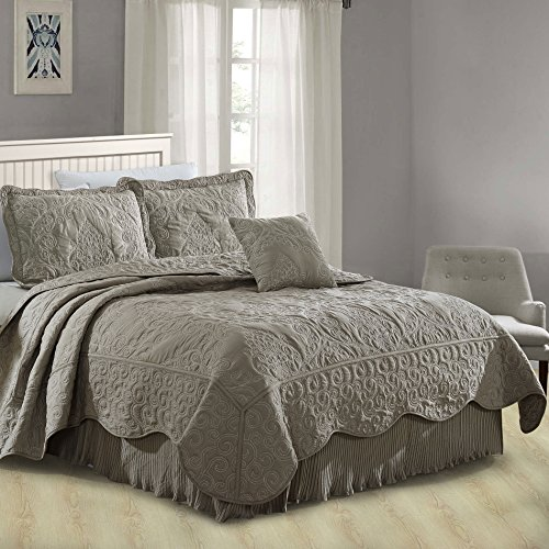 Serenta Damask 4 Piece Bedspread Set, Queen, Ash Gray ()