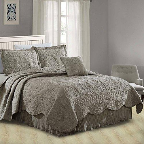 Serenta Damask 4 Piece Bedspread Set, Queen, Ash Gray
