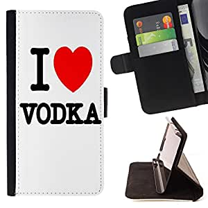 - Vodka - - Prima caja de la PU billetera de cuero con ranuras para tarjetas, efectivo Compartimiento desmontable y correa para la mu?eca FOR Apple iPhone 5 5S King case