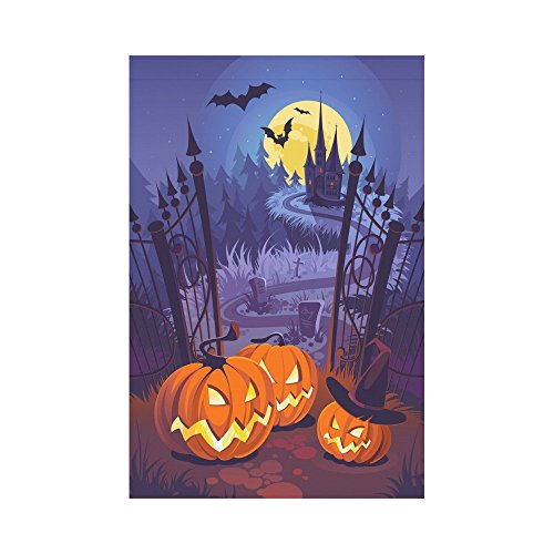 (InterestPrint Creative Halloween Pumpkin Castle Polyester Garden Flag House Banner 12 x 18 inch, Spooky Night Decorative Flag for Party Yard Home Outdoor)