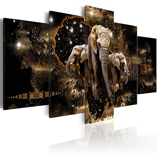 Konda Art Elephant Family Canvas Wall Art Starry Sky 5 Piece Animal Painting Contemporary Home Decoration Pictures Print Artwork for Living Room Framed and Ready to Hang (Brown Elephants, 40