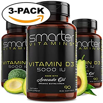 (3 Bottles) Vitamin D3 5000 IU in USDA Certified Organic Avocado Oil, 270 Mini Softgels, Non-GMO, Soy Free, Gluten Free, Supports Healthy Bones and Immune ...
