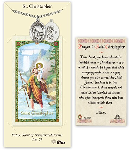 Pewter Saint Christopher Football Medal with Laminated Holy Prayer - Christopher Medal Football