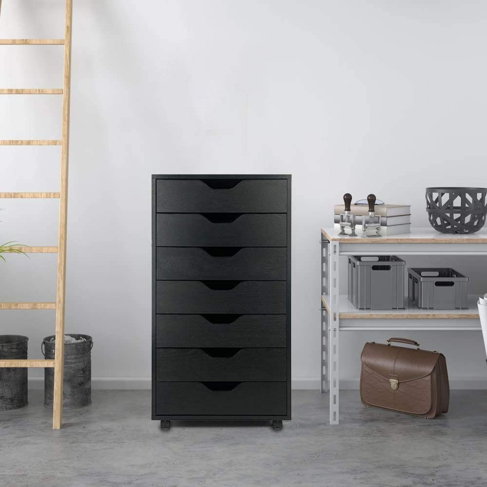 Binrrio 7-Drawer Dresser Classic Simple Style Cabinet for Home Office Living Room Side Table Sturdy Bedroom Storage Cabinet with Metal Handles Black