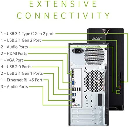 Acer Aspire TC-885-UA91 Desktop, 9th Gen Intel Core i3-9100, 8GB DDR4, 512GB SSD, 8X DVD, 802.11AC Wifi, USB 3.1 Type C, Windows 10 Home,Black