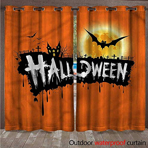 cobeDecor Halloween 0utdoor Curtains for Patio Waterproof Spooky Party Bats Festive W84 x L84(214cm x 214cm) ()