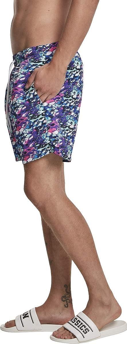 Urban Classics Badehose Multicolor Swim Shorts Ba/ñadores Ajustados para Hombre