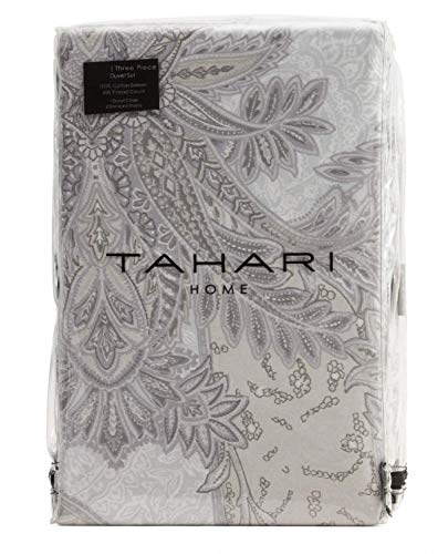 Tahari King Duvet Cover Set Metallic Cotton Bedding (Taupe, King)