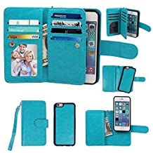 iPhone 5 5S Case, xhorizon ™ Premium Leather Folio Case [Wallet Function] [Magnetic Detachable] Fashion Wristlet Lanyard Hand Strap Purse Soft Flip Book Style Multiple Card Slots Cash Compartment Pocket with Magnetic Closure Case Cover Skin ZA5 for iPhone 5/5S - Blue