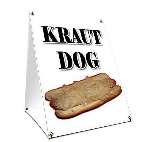 "A-frame Sidewalk Kraut Hot Dog Sign With Graphics On Each Side | 18"" X 24"" Print Size from SignMission"