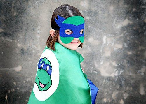 Blue Ninja Turtle Super Hero Cape & Mask - Blue and Green Super Hero Cape, Super Hero Mask & Cape, Ninja (Ninja Turtle Blue)