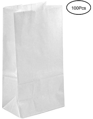 Tebery 100 Kraft Blanco bolsas de papel con base 27 x 15 x 9 cm.