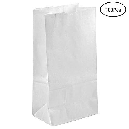 Tebery 100 Kraft Blanco bolsas de papel con base 27 x 15 x 9 cm. papel para envolver pan galletas y dulces de panadería. Ideal para bolsas de regalo, ...