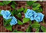Colorfulife® 6pcs Artificial Lifelike Silk 2.5M Rose Vine Ivy Hang Flower Vine Rattan Fake Leaf Pipeline Cane Garland Wall Hanging Plant Decorative Wedding Party Home Garden Pipe Room Fence Door Balcony Decoration (Light Blue)