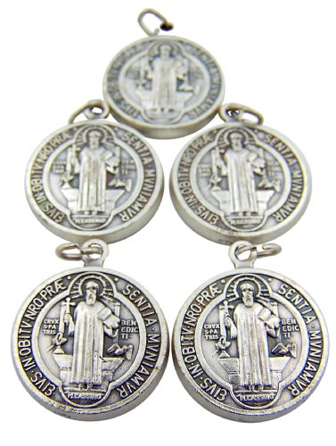 Religious Gifts Lot of 5 Silver Toned Base Tone Saint Benedict Protection From Evil Sacremental Devotion 1 Inch Medal