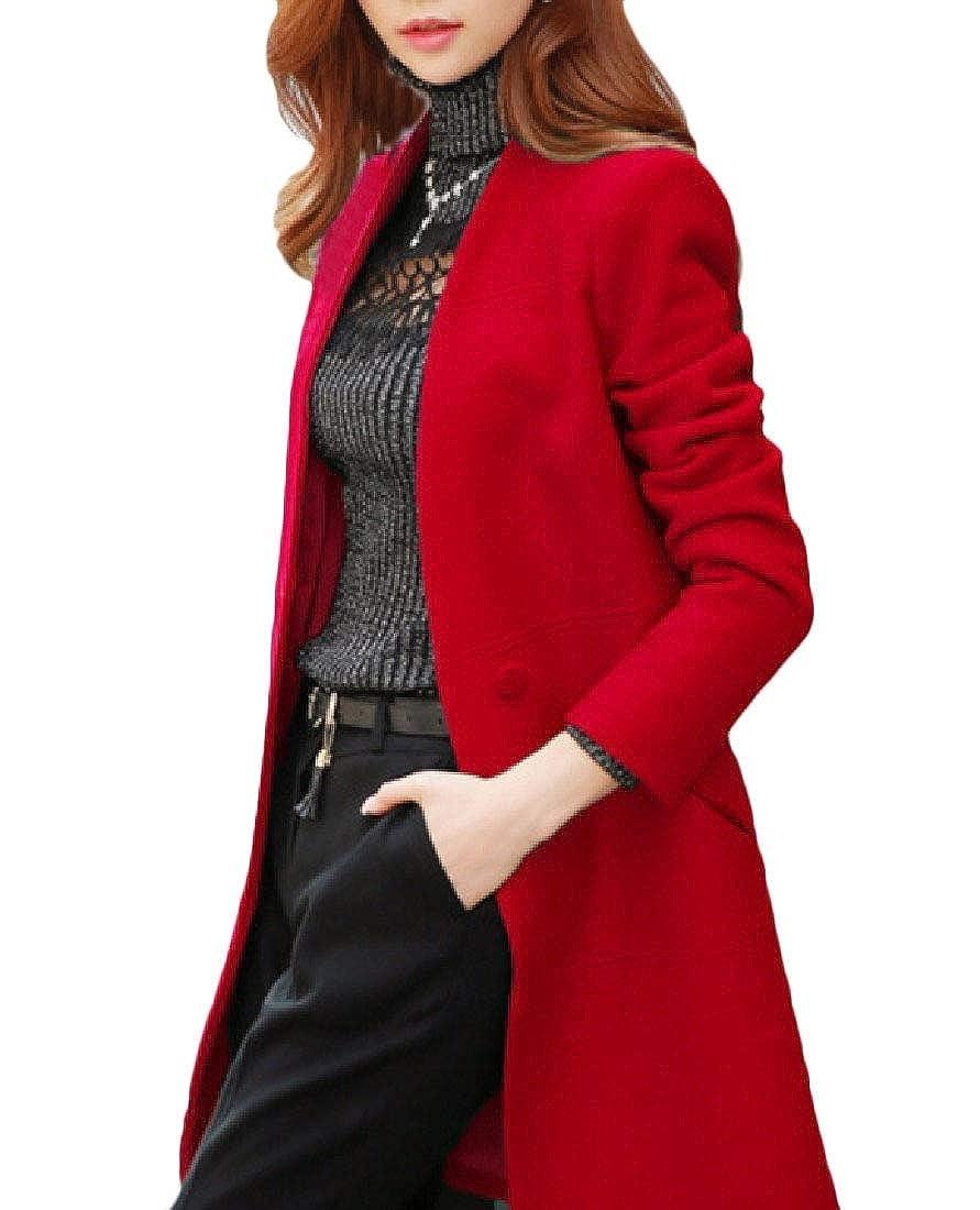 YUNY Women Outdoor Warm Slant Pockets British Style Pea Coat Red M