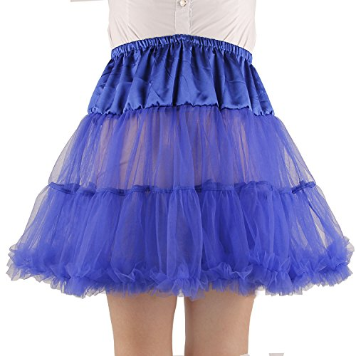 Shimaly Women's Princess Layered Puff Skirt Mini Tutu Skirt Short Petticoat (L-XL, Royal Blue)