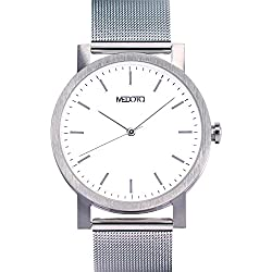 MEDOTA Stainless Steel Waterproof Watch Umbra Series Swiss Watch Quartz Mens Watch - No. 21201 (White)