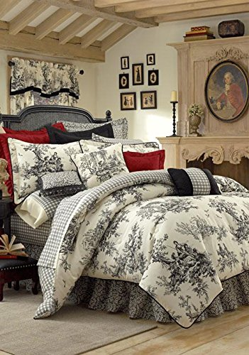 Thomasville Bouvier 4-Piece Comforter Set, Queen - Black And White Toile Bedding