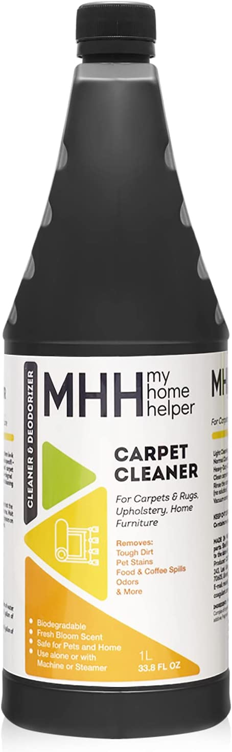Carpet Cleaner & Deodorizer – Deep Cleaning Carpet Shampoo – Alone or Machine Use - Deep Stain and Odor Remover - Use on Carpets Rugs and Upholstery - 33.8 FL OZ , 1 L