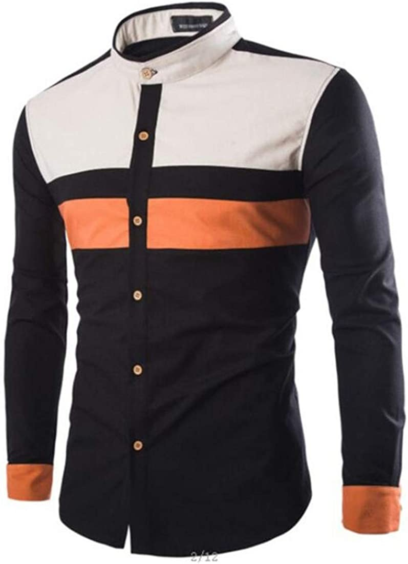 FRPE Men Long Sleeve Button Down Shirt Contrast Color Pattern Tops