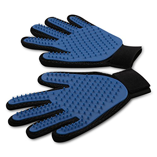 wangstar Pet Grooming Gloves Mitts, Pet Deshedding Tool Cat Brushing Glove Hair Removal Pet Gloves, Pet Massage Brush for Long Short Hair Dogs Cats Bunnies Horses, Set of 2-Right hand & Left hand